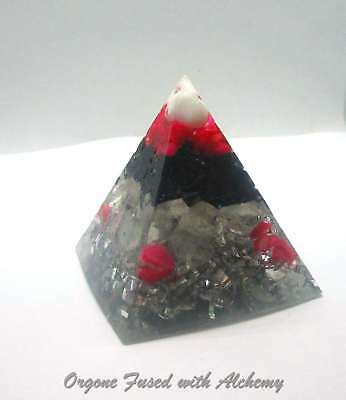 """21/4x 2"""" Orgone Pyramid Fused w/ALCHEMY Clears YOU Protects from EMF!"""