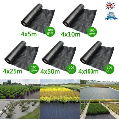 5/10/25/50/100M 100gsm Weed Control Fabric Ground Cover Membrane Heavy Duty New