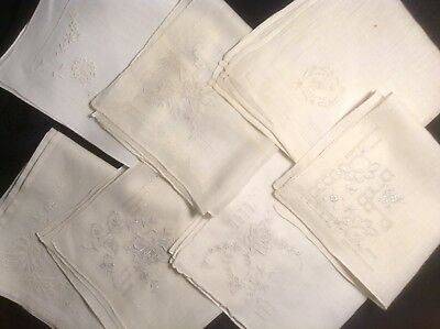 Seven Vintage Hankies, Hand Embroidered, Pulled Thread Work, All Lovely