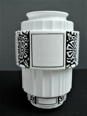 "Vintage 9"" Deco Sky Scraper Milk Glass Globe Shade Black Flower Stenciling"