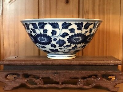 Unique  Ming Style Chinese Blue And White Porcelain Bowl-Marked On The Base
