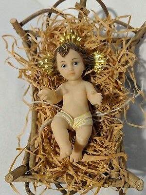 Baby Jesus Creche Vintage Nativity Figurine And Manger Florentine Italy As Is