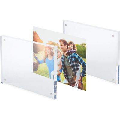"2 Pack Clear Photo Frame 4""x6"" Picture Free Standing Magnetic Acrylic Frame AZM"