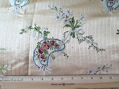 """Antique French 19thC Silk Brocade Sample Fabric~Florals, Ribbon & Hats~27""""LX21""""W"""