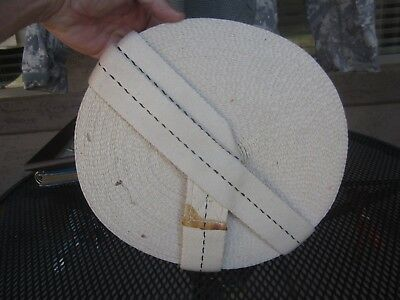 WWII White Single Dot Parachute Rigger Webbing Roll, Tow Strap