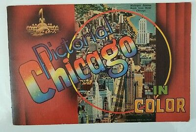 1949 Vintage Pictorial CHICAGO IN COLOR Curt Teich 32 PAGE BOOKLET MAP+ Envelope