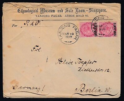 Straits Settlements 1899 Singapore TANJONG PAGAR to Germany, QV 4c/5c EARLY DATE