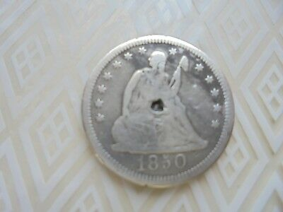 1850- 25C Liberty Seated Quarter Very Nice Silver Coin