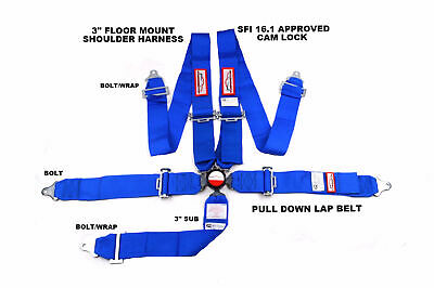 "Sfi 16.1 Racing Harness 5 Point Seat Belt Floor Mount 3"" Cam Lock Blue"