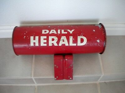 Vintage DAILY HERALD metal newspaper round box tube Antique Deco mailbox holder