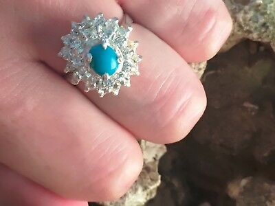 Vintage Rare Ancient Silver Blue Turquoise Zircon Stones Women's Ring Jewelry