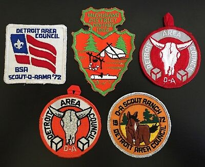 5 1960-70s BOY SCOUT PATCHES MICHIGAMI DETROIT AREA COUNCIL DAC D-A RANCH BSA