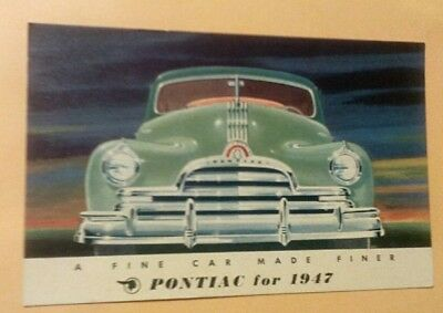 "1947 Pontiac ""A Fine Car Made Finer"" Original Advertising Postcard Washington PA"