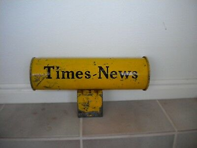 Vintage TIMES-NEWS metal newspaper round box tube Antique Deco mailbox holder