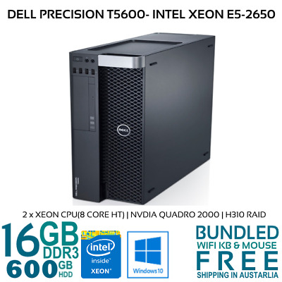 Dell Precision T5600 DUAL Xeon E5-2650 2x8CORE 16GB 600GB HDD Nvidia Quadro W10