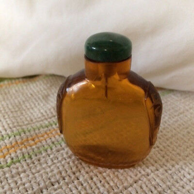 Vintage Amber Glass With Jade? Snuff Bottle, Nice Collectible!