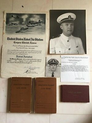 Wwii Vf-20 Navy Hellcat Pilot Aviator's Flight Log Books & Photos Docs. Id'd