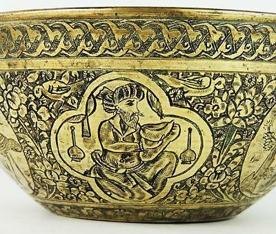 QAJAR PERSIAN BRASS BOWL ENGRAVED PRINCELY FIGURES c1900 Islamic Art