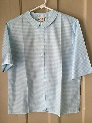 1960s White And Blue Check Button Down Short Sleeve Blouse Size  13Bobbie B