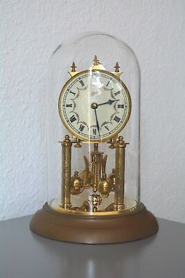 SCHATZ Vintage 400 Day Anniversary glass dome clock. Germany. Brass. Working