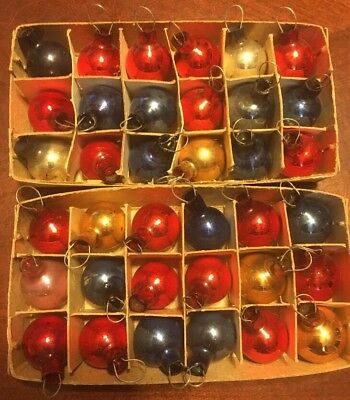 36 Lot MINI Small Mercury Glass Ornaments Blue Gold Red Pink Vintage Christmas