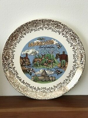 Minnesota Vintage Souvenir Plate with Gold Trim Land of 10,000 Lakes Paul Bunyan