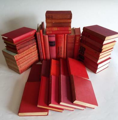Job Lot of 40 Vintage Antique Books *Table displays, Weddings, Red, Bookshelfs