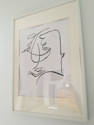 white framed Drawing abstract face