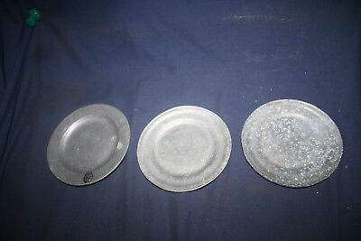 Lot Of 3 Vintage Collectible Solid Pewter Plates M And RWP