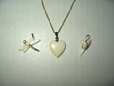 3 Vintage Carved Faux Bone Heart-Dragonfly-Shark's Tooth Pendants Necklace