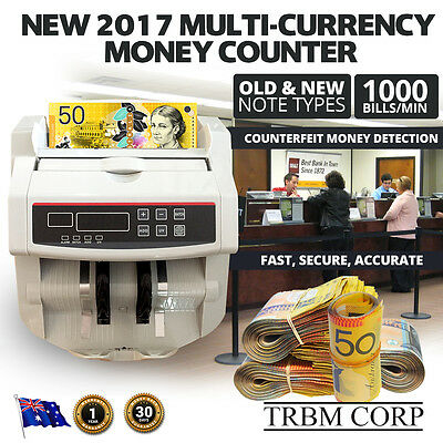 Multi Currency Note Counter Automatic Money Counting Counterfeit Detect Business