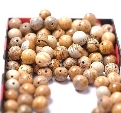20Pcs Picture Stone Natural Gemstone Round Spacer Loose Beads 8MM #15