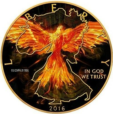 2016 1 Oz Silver $1 LIBERTY BURNING  EAGLE Coin, Ruthenium AND 24K GOLD GILDED..