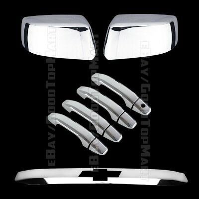 For Chevy TAHOE 2015 16 17 Chrome Mirror Covers Door Handle NS Tailgate Trunk Lg