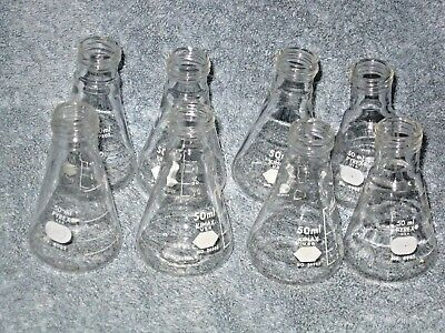 1 Lot Of 8 Kimax 50 Ml Screw Top Erlenmeyer Flasks Without Caps