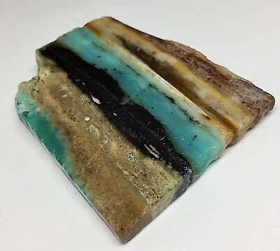 49.4 g Indonesian Blue Opalized Petrified Wood Rough Slab 64.9 x 51.4 x 7.8 mm