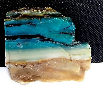 58.5 g Indonesian Blue Opalized Petrified Wood Rough Slab 63.2 x 58 x 10.6 mm