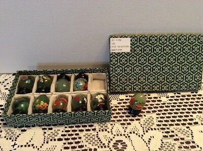 Set of 10 Hand Painted HSIU Stone Eggs With Wood Stands