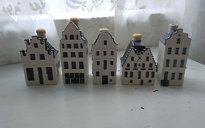 Lot of 5 Blue Delft Houses KLM Bols # 87 79 41 76 sealed #45 opened very nice