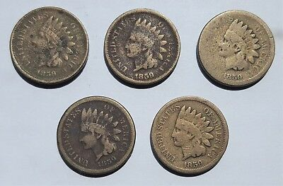 1859 P Indian Head Penny Cent 5 Coin Roll Lot First Year