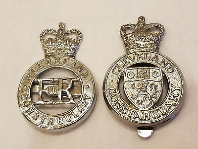 Cleveland Constabulary Police  United Kingdom Hat Badges. Lot of 2 different