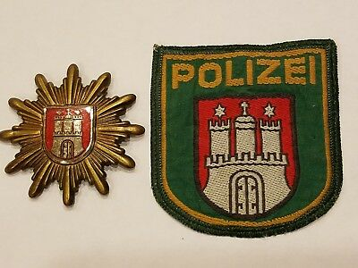 Hamburg State Police hat badge and Patch set (POLIZEI) West Germany