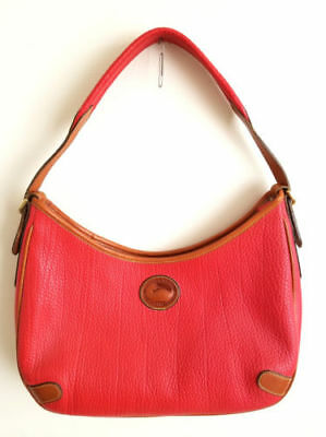 Dooney & Bourke Geranium Red Leather Shoulder Bag with Tan Trim