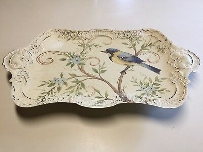 """Vintage Footed Handpainted Metal Floral/bluebird Serving Tray  18"""" X 10.5"""""""
