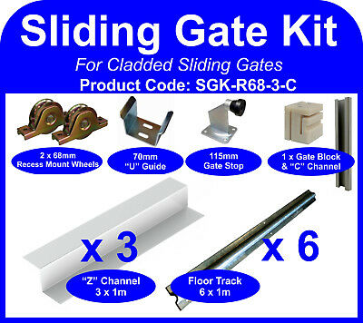 Complete Sliding Gate Hardware Kit for 3m Cladded Gate 68mm recess mount wheels