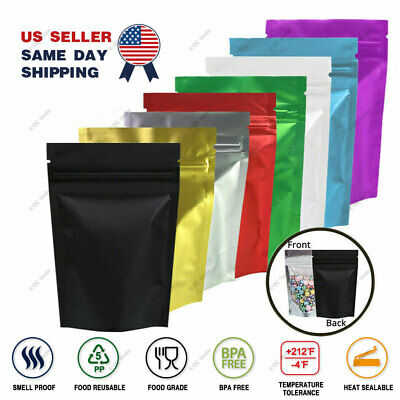 Assorted Size Matte Silver Two Sided Foil Mylar Stand up Zip Lock Pouch Bag S03