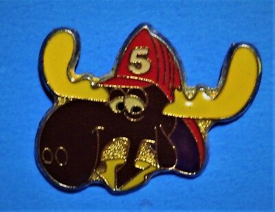 Rocky & Bullwinkle Cartoon - Fireman - Moose - Vintage Lapel Pin - Hat Pin