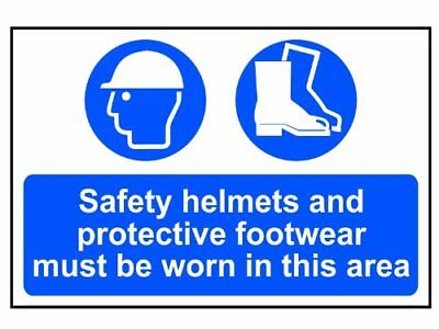 Scan 4001 Panneau en PVC Safety Helmets Plus Footwear To Be Worn 400 x 600 mm