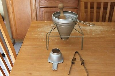 Lot of Vintage Canning Equipment: Tomato Strainer, Pestle, Stand, Funnel, Tongs