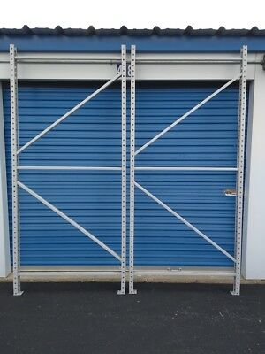 "Tear Drop Pallet Rack Uprights - One pair of 42"" wide by 96"" tall"